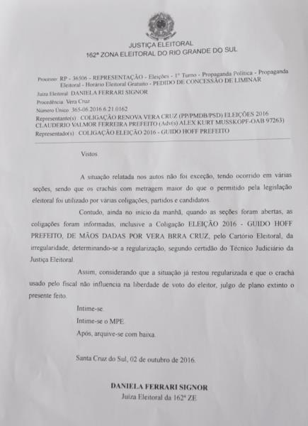 Juíza emitiu decisão sobre a representação