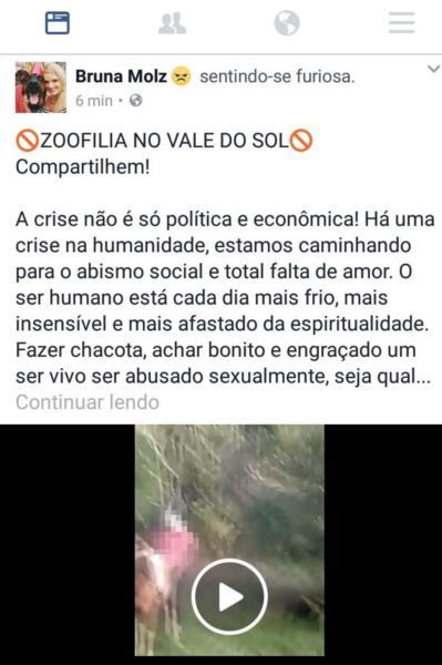 Bruna divulgou o vídeo no Facebook. Postagem foi bloqueada