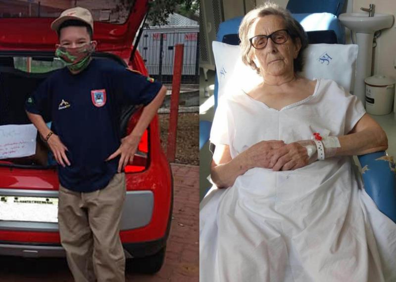 Júnior à esquerda, de bombeiro mirim, e a bisavó à direita, em recuperação no hospital
