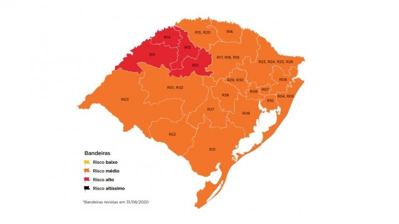 Quatro regiões permanecem em bandeira vermelha no Estado