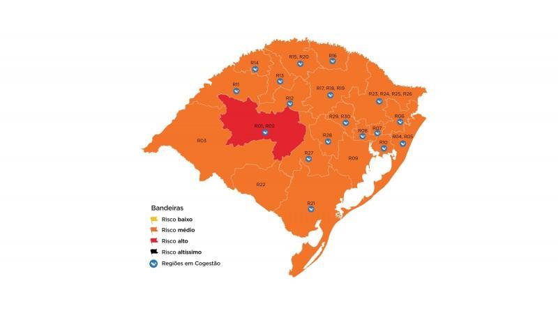 Divulgado na sexta-feira, apenas a região de Santa Maria ficou em bandeira vermelha