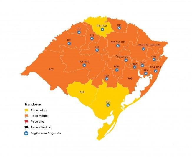 Última atualização apontou três regiões em bandeira amarela. Vale do Rio Pardo segue com sistema de cogestão