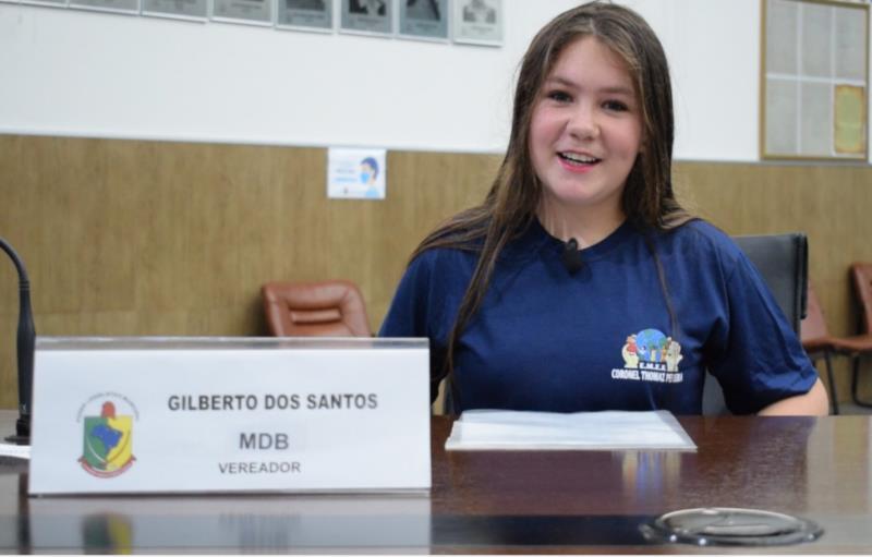 Maria Clara Greiner, da Escola Coronel Thomaz Pereira. Representou o vereador Gilberto dos Santos
