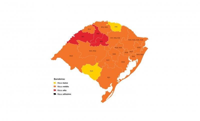 Há, ainda, 16 regiões em bandeira laranja e duas com risco baixo para o contágio de coronavírus