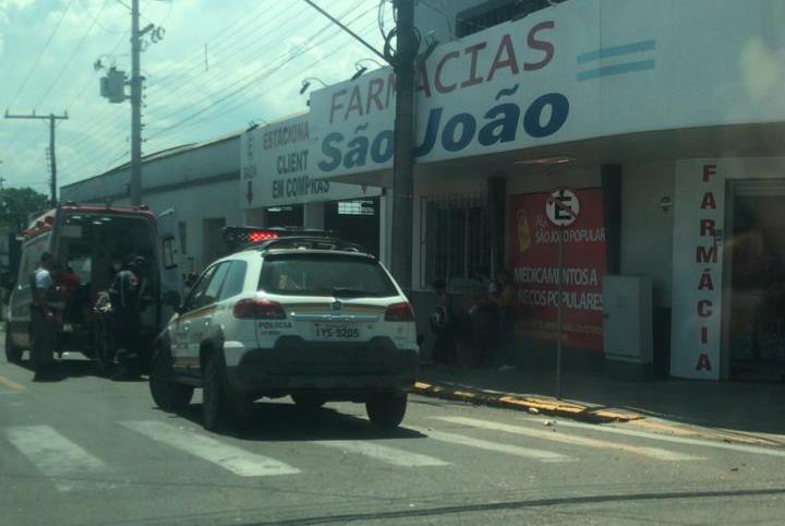 Colisão no Centro do município deixou um jovem ferido