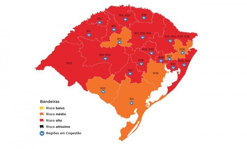 Divulgada na sexta-feira, a classificação preliminar desta rodada indicou 15 das 21 regiões Covid com alto índice de contágio