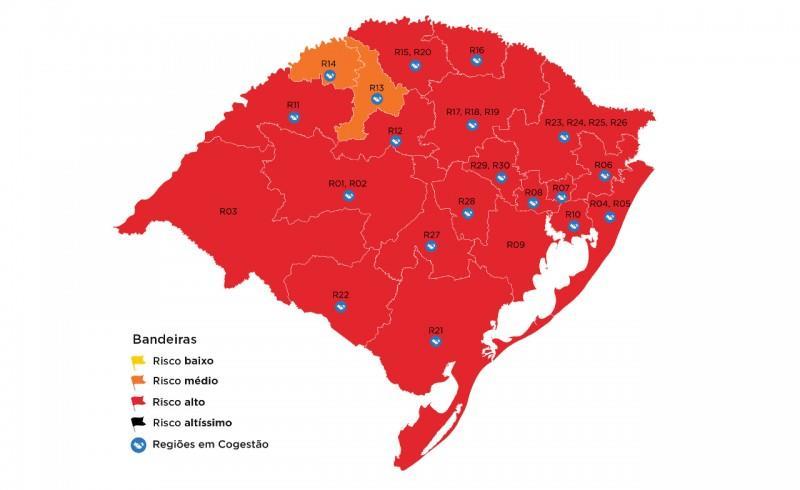 Das 21 regiões, apenas Ijuí e Santa Rosa ficaram na bandeira laranja