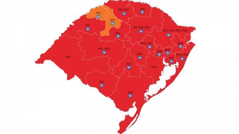Pedidos de reconsideração não foram aceitos, e Estado fica com 19 das 21 regiões Covid em bandeira vermelha