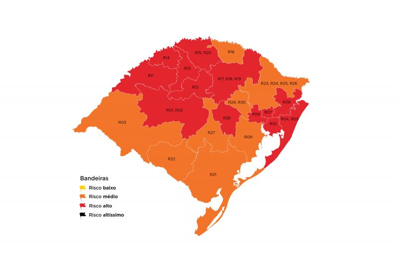 Aumenta número de regiões em bandeira vermelha no mapa preliminar da 40ª rodada