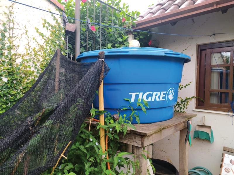 Cisterna na casa de Fabiana ajuda a manter quintal cheio de vida