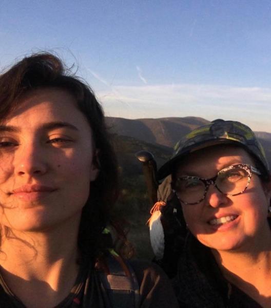 Registro com a filha durante a Caminhada de Compostella na Espanha em 2017