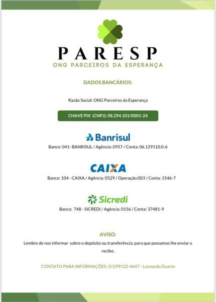 ONG Paresp arrecada alimentos para famílias carentes de Venâncio Aires