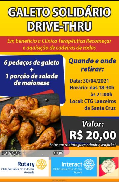 Rotary Club Avenida promove galeto solidário drive-thru
