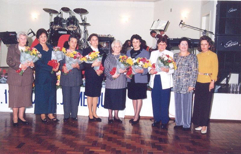 Magda durante homenagem às ex-diretoras na festa de 60 anos do Mesquita