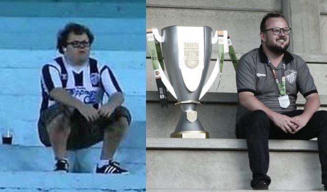 Tiago Rech na época de torcedor solitário ao título de campeão na Copinha, no ano passado