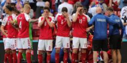 Jogador da Dinamarca desaba no gramado e partida é suspensa na Eurocopa