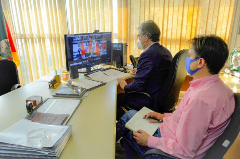 O encontro, no formato virtual, foi intermediado pela Frente Parlamentar Brasil-China no Estado