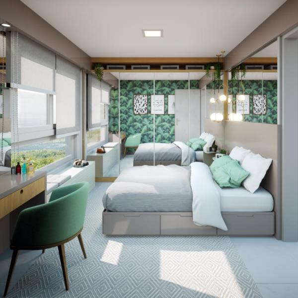 Condomínio também se diferencia pela beleza e praticidade dos apartamentos de dois dormitórios