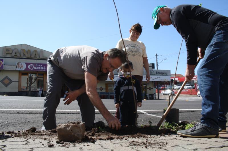 Mudas foram plantadas durante o fim de semana em frente à Comunidade Evangélica e no Cemitério
